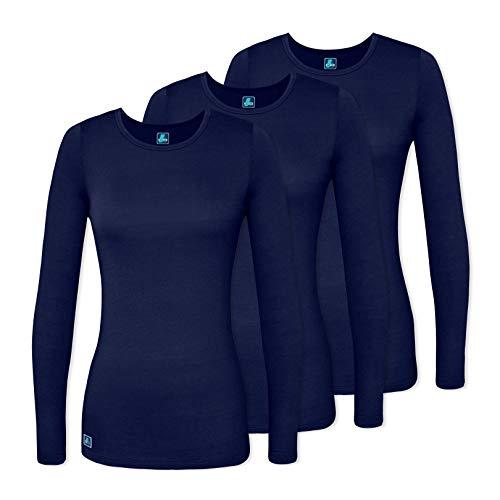 Adar 3 Pack Women's Comfort Long Sleeve T-Shirt/Underscrub Tee - 2903 - Navy - XS