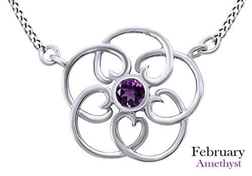 AFFY Round Cut Simulated Amethyst Filigree Pendant Necklace In 14k White Gold Over Sterling Silver