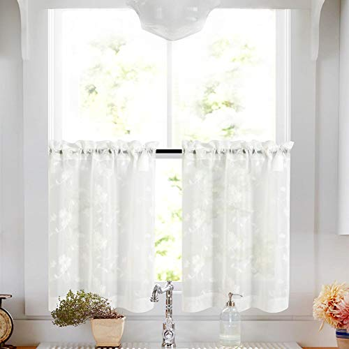 Tier Curtains White 36 Inch Length Kitchen Cafe Floral Embroidered Sheer Window Curtain Set for Bathroom Semi Sheer Curtains Voile Floral Drapes Rod Pocket 2 ()