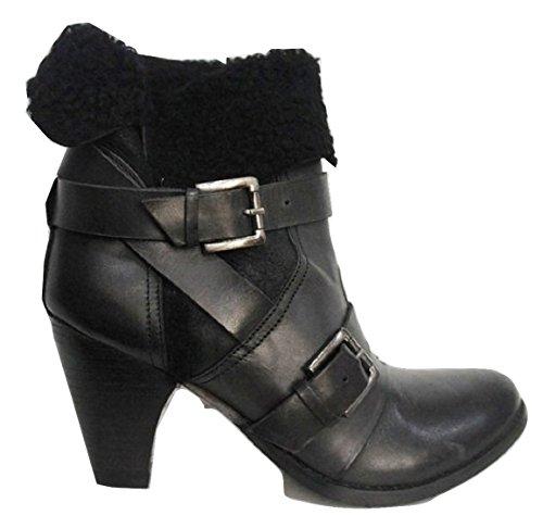 Moda In Pelle «Banque» en cuir véritable noir boucle et détails en fausse fourrure cheville bottes