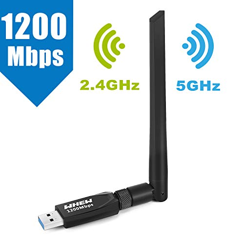 WiFi Adapter, Whew USB Wireless Adapter Dual Band 2.4GHz/5GHz Channel, WiFi Network Adapter with 5dBi Antenna, Support Windows XP/Vista/7/8/8.1/10 Mac OS 10.4-10.12 Linux