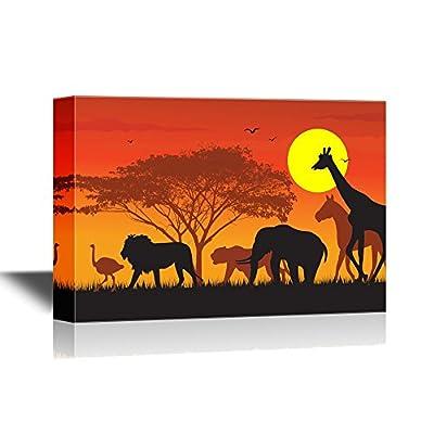 African Savanna Sunset Wild Animals and Acacia Tree...