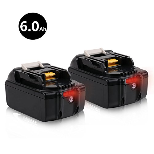 Batteriol 18V 6.0Ah Lithium-Ion Battery with LED Indicator for Makita BL1860B BL1860-2 BL1830 BL1840 BL1850 LXT-400 194204-5 Cordless Power Tools - 2Pack by Batteriol
