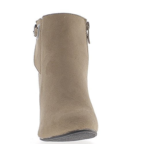 Bottines compensées taupe talon de 8cm look daim
