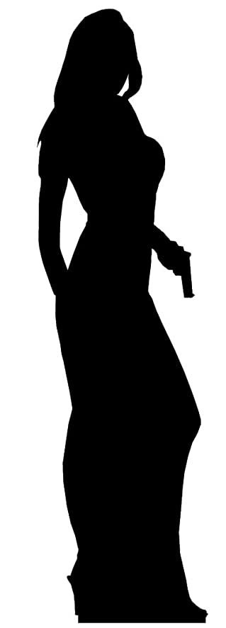 secret agent james bond style girl single pack silhouette lifesize cardboard cutout