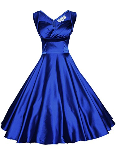 Maggie Tang Women's 1950's 60s Solid Color Vintage Garden Dress M Royal Blue