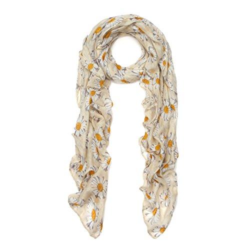 Premium Daisy Floral Fashion Scarf Wrap, Yellow Daisy Print