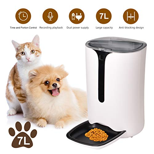 Iseebiz Automatic Pet Feeder, 7L Dogs Cats Food Dispenser with Voice Record Remind, Timer Programmable, Portion Control…