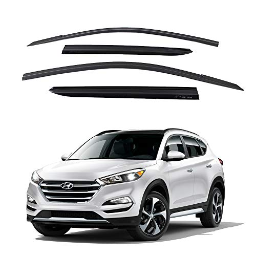 - Safe Smoke Window Visor Sun Rain Vent Guard 4 Pcs Set for 2016~ Hyundai Tucson Out Channel Visor
