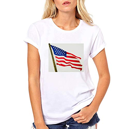 Smdoxi Women's American Flag T-Shirt July 4th Independence Day T-Shirt Loose Sleeveless Tops Patriotic American T-Shirt White]()