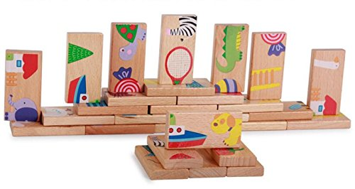 Farook-28 PCS Animal Domino Puzzles Toys Baby Kids Early Creativity Developing Wooden Puzzles