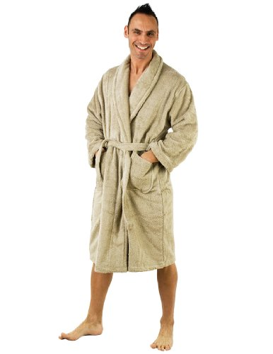 TowelSelections Men's Robe, Turkish Cotton Terry Shawl Bathrobe Large/X-Large Taupe