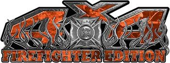 REFLECTIVE 4x4 Firefighter Edition Truck Quad or SUV Decal Kit with Flames and Fire Rescue Maltese Cross in Orange Camouflage ()