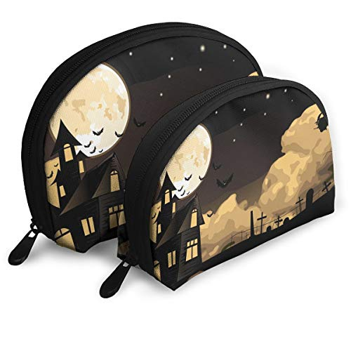 (Sunmoonet Portable Cosmetic Bag Travel Handy Organizer Pouch Shell Makeup Storage Bag for Women Pack of 2 - Halloween Witch)