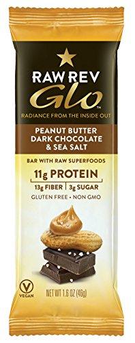 Raw Rev Glo Vegan, Gluten-Free Protein Bars - Peanut Butter Dark Chocolate & Sea Salt 1.6 ounce (Pack of 12)