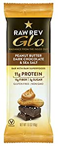 Raw Rev Glo Vegan, Gluten-Free Protein Bars - Peanut Butter Dark Chocolate & Sea Salt 1.6 ounce (Pack of 12)