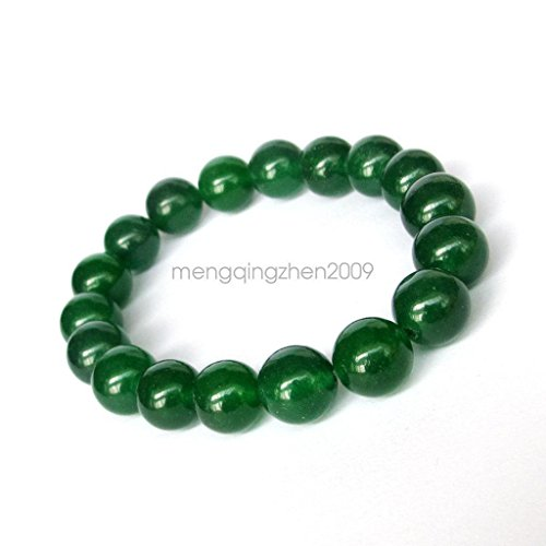 10MM Green Jade Tibet Buddhist Prayer Beads Mala Bracelet Bangle Women - Green Tibet