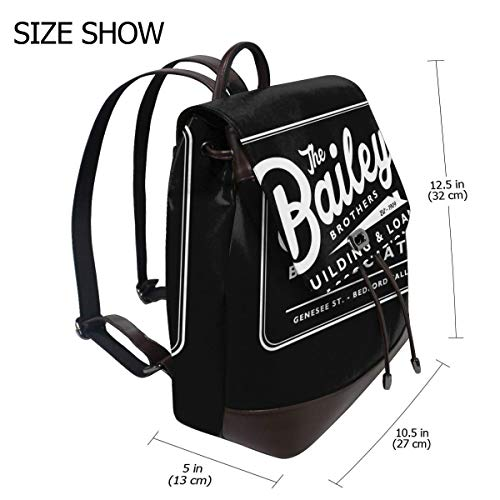 Its A Wonderful Life Baileys Brothers Building And Loans Association Fashion Design Leather Backpack For Women Men College School Bookbag Weekend Travel Daypack