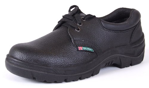 Click Black Leather Safety Work Shoes Steel Toecap Size 12 Anti Static