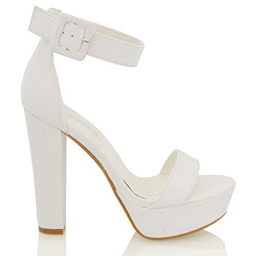 Essex Glam Dames Enkellaars Platform Synthetisch Lederen Sandalen Wit Synthetisch Leer
