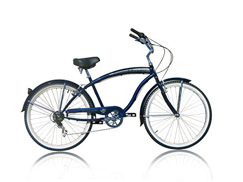 Micargi Rover 7 Speed Beach Cruiser Bike, Dark Blue, 26 Inch