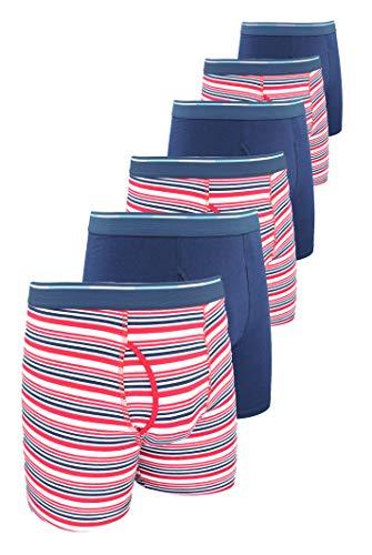 Comfneat Men's Boxer Briefs 6-Pack S-XXL Tagless Underwear Soft Cotton Spandex (Navy + Red Stripe Pack-6, M)