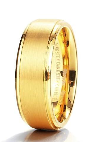 King Will GLORY Womens Mens 8mm Matte Brushed Tungsten Carbide Ring 14K Yellow Gold Wedding Band Comfort (Man Ring Gold 14k)
