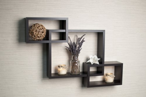 Danya B YU008 Intersecting Boxes Color Wall Shelf, Espresso