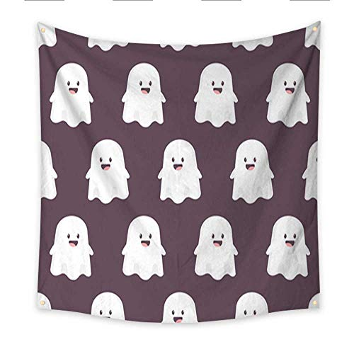 Anniutwo Tapestry for Men Cute Cartoon Ghost Vector Seamless Pattern for Holiday Halloween Background for Wallpaper Wrapping Packing and Backdrop Blanket Home Room Wall Decor 70W x 70L -