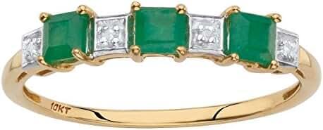 Solid 10k Yellow Gold Princess-Cut Genuine Green Emerald Diamond Accent Ring