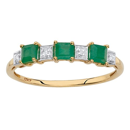(Solid 10k Yellow Gold Princess-Cut Genuine Green Emerald Diamond Accent Ring Size 9)