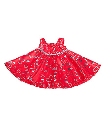 "Red and Silver Heart Dress Fits Most 8""-10"" Webkinz, Shining Star and 8""-10"" Make Your Own Stuffed Animals and"