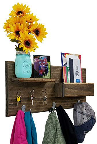 Hamilton Elite Wall Mounted Organizer features 3 double coat hooks, 3 key hooks, display shelf along with a mail holder. Available in 20 Stains : Shown in Dark Walnut ()