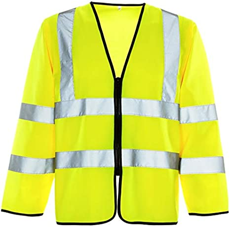 4XL, Yellow ShoppersBase/® HI VIZ VISIBILITY SECURITY WORK CONTRACTOR LONG//SHORT SLEEVE VEST ZIP JACKET