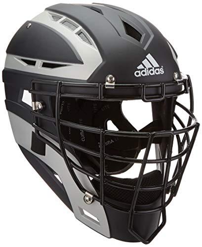 adidas Performance PRO Series Baseball Catchers Helmet, Black/Silver, One Size