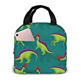 Cute Lambeosaurus Lunch Bag Cooler Bag Women Tote Bag Insulated Lunch Box 8.3 x 7.9 Inch