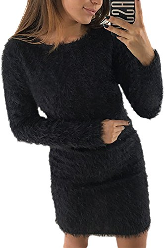 Imitacion Invierno De Elegante Pullover Mini La Mujer Vestido Parte Mohair Lápiz negro FxfZwq8wA