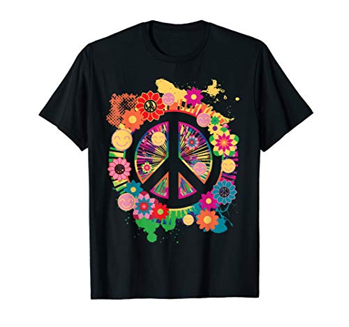 - Peace Sign T-Shirt - Colorful Peace Tshirt - 70's Tee Shirt
