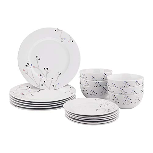 AmazonBasics 18-Piece Kitchen Dinnerware Set, Dishes, Bowls, Service for 6, Branches ()