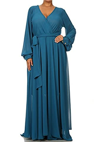 FULL SWEEP Chiffon MAXI DRESS SHEER Gown Cocktail Long Skirt - Teal - XL - Full Sweep Gown