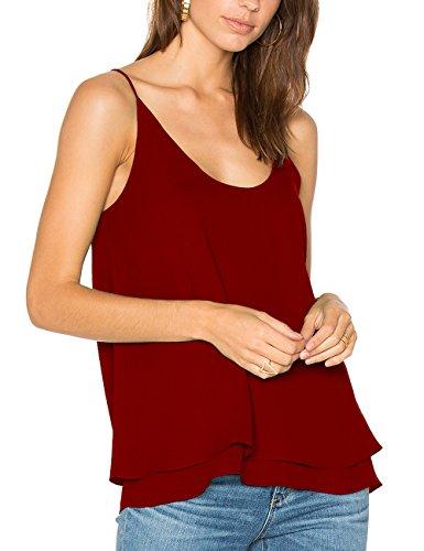 Dohia Women's Summer Chiffon Layered Cami Tank Tops Loose Fit Casual Blouses C2714(XL, Burgundy)