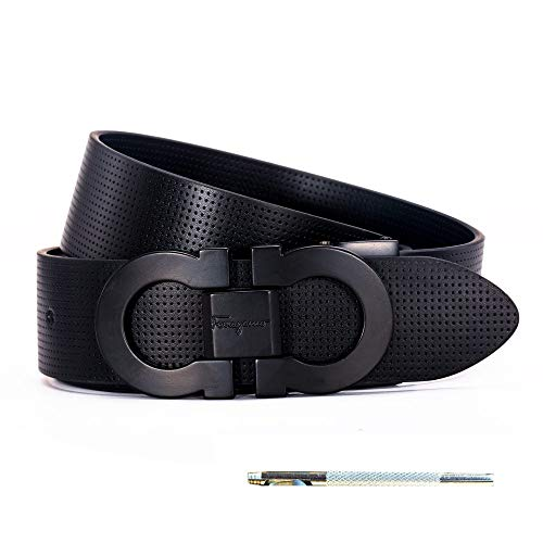 Buckle Belt Black Genuine (Men's Genuine Leather Belt Adjustable Buckle, by Trim to Fit (FB black-black, Adjustable from 26