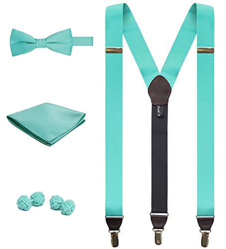 - Jacob Alexander Matching Suspenders Handkerchief Cufflinks and Pre-Tied Bow Tie Set - Aqua