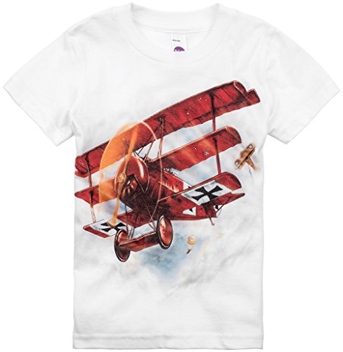 Shirts That Go Little Boys' Red Baron Airplane T-Shirt 6 White