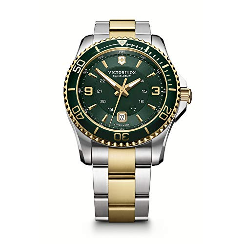Victorinox 241605 Swiss Army Men's Stainless Steel Watch, Two-Tone Stainless Steel Band, 43mm ()
