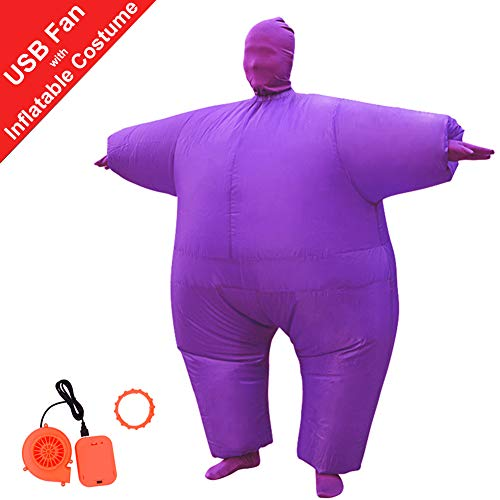 HUAYUARTS Inflatable Full Body Suit Christmas Costume Adult Funny Cosplay Cloth Party Toy for Halloween, Free Size, Purple ()