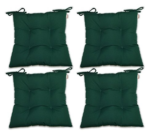 Set of 4 - Indoor/Outdoor Sunbrella Hunter Green Universal Tufted Seat Cushions with Ties for Dining Patio Chairs - Choose Size (16