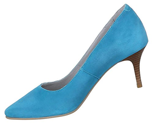 Damen Schuhe Pumps Leder High Heels Hellblau