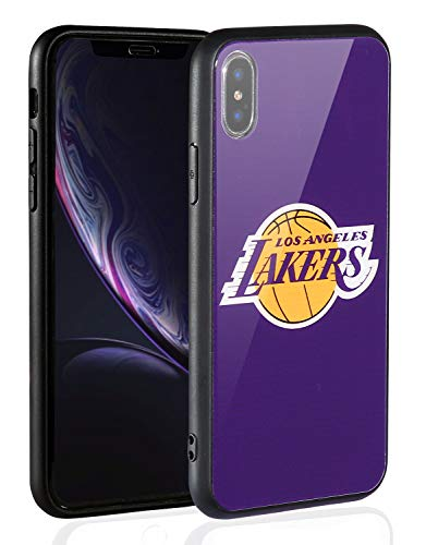 Sportula NBA Phone Case - 9H Tempered Glass Back Cover Silicone Rubber Bumper Frame Compatible Apple iPhone X/iPhone Xs (Los Angeles Lakers)
