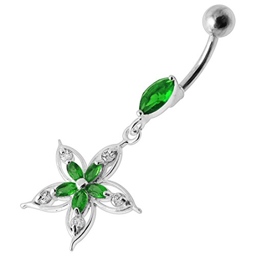 Dark Green CZ Crystal Stone Tribal Filigree Flower Dangling Design 925 Sterling Silver Belly Button Ring Jewelry ()